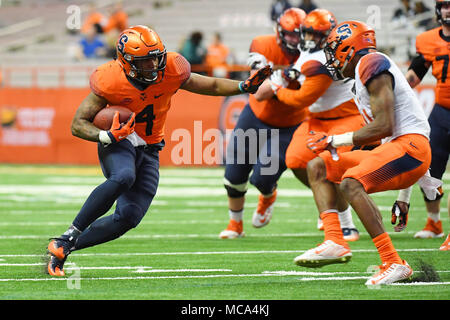 Syracuse, New York, USA. 13th Apr, 2018. Syracuse Orange running back Dontae Strickland (4) runs with the ball during the Syracuse Spring football game on Friday April 13, 2018 at the Carrier Dome in Syracuse, New York. Rich Barnes/CSM/Alamy Live News - Stock Photo