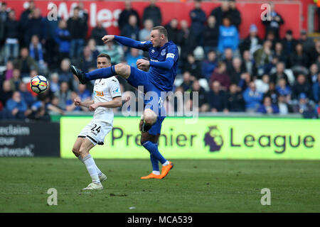South Wales, UK, 14 April 2018. Wayne Rooney of Everton in action.  Premier League match, Swansea city v Everton at the Liberty Stadium in Swansea, South Wales on Saturday 14th April 2018.  this image may only be used for Editorial purposes. Editorial use only, license required for commercial use. No use in betting, games or a single club/league/player publications.  Credit: Andrew Orchard sports photography/Alamy Live News - Stock Photo
