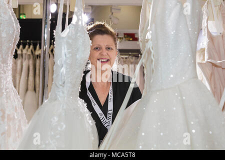 ExCel London, London, 14th April 2018. The National Wedding Show takes place at ExCel London Exhibition Centre this weekend, showcasing the latest bridal trends, accessories, dresses and everything around planning the perfect wedding. Credit: Imageplotter News and Sports/Alamy Live News - Stock Photo
