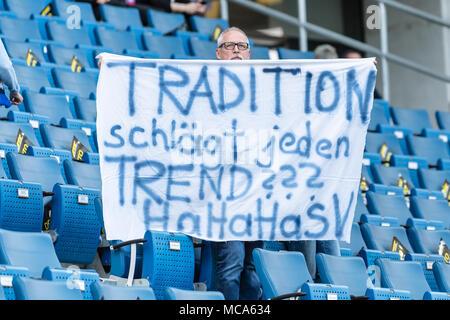 A Hoffenheim Fan with Transparent: Tradition beats every trend ??? HaHaHaSV. TSG 1899 Hoffenheim - HSV Hamburg Hamburg Hamburg, 14.04.2018 - Football / Soccer 1st Division: TSG 1899 Hoffenheim vs HSV Hamburg Hamburg Hamburg, Sinsheim, Apr 14, 2018 -   usage worldwide - Stock Photo