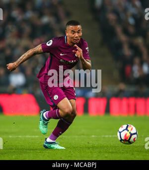 London, UK. 14th Apr, 2018. Gabriel Jesus of Manchester City during the Premier League match between Tottenham Hotspur and Manchester City at Wembley Stadium on April 14th 2018 in London, England. (Photo by John Rainford/phcimages. Credit: PHC Images/Alamy Live News - Stock Photo