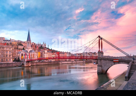 Old town of Lyon at gorgeous sunset, France - Stock Photo