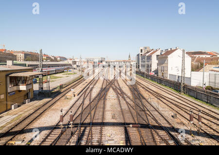Train tracks leading to Westbahnhof, looking from a bridge, Vienna Austria April 14, 2018 - Stock Photo