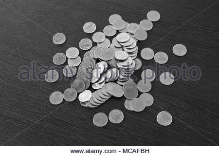 Thai baht, money, Thai coins in black and white tone. - Stock Photo