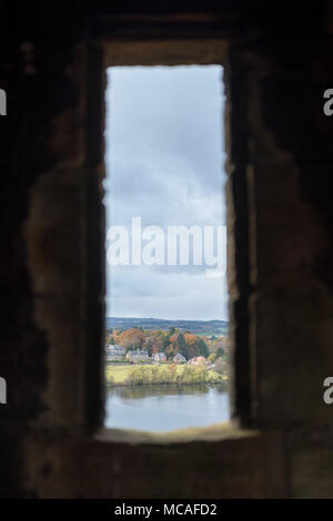 View of Linlithgow Loch, from the window of Linlithgow Palace - Stock Photo