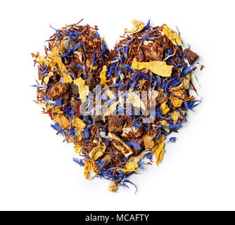 Heart shaped from rooibos tea with cornflower and orange slices isolated on white background. Top view. Close up. High resolution - Stock Photo