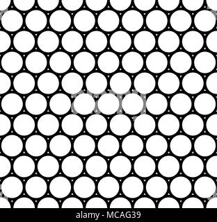 Modern repeating seamless pattern of repeat round shapes. Black and white circle dot stylish texture. Geometric background. Vector illustration. - Stock Photo
