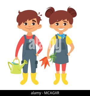 Vector cartoon style boy and girl characters in farm costumes. - Stock Photo