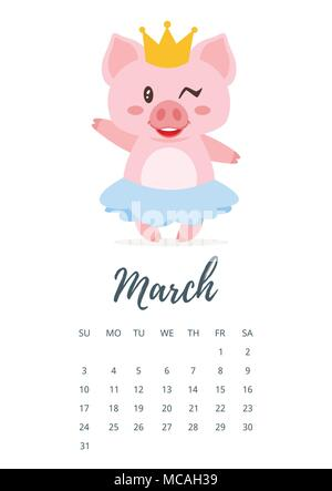 Vector cartoon style illustration of March 2019 year calendar page with cute pig girl in skirt and golden crown. Template for print. - Stock Photo