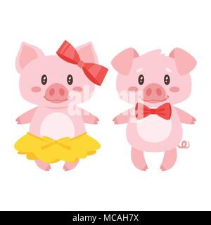 Vector cartoon style illustration of cute pink pig character: boy and girl in yellow skirt and red bow. Isolated on white background. - Stock Photo