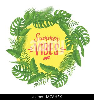 Vector cartoon style Summer Vibes design for season postcard or poster with floral composition with tropical leaves. Colorful vibrant template for pri - Stock Photo