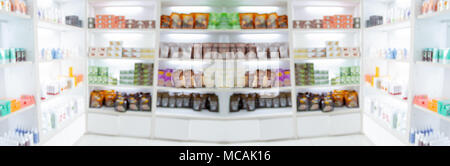 ... Panorama On Medicine Cabinet And Store Medicine And Pharmacy Drugstore  For Blurry Background   Stock Photo