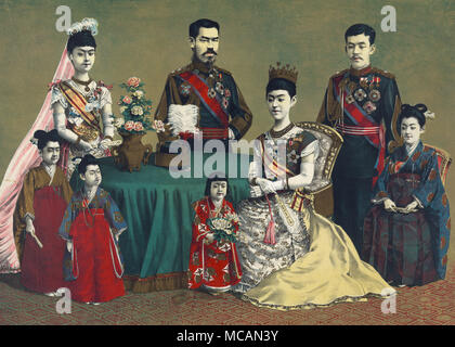 group portrait of Meiji, Emperor of Japan and the imperial family. - Stock Photo