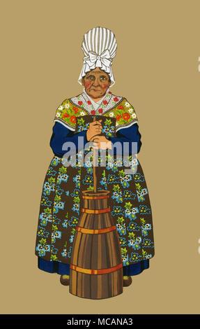 la normandie-vieille femme de la vallee de la touques - Stock Photo
