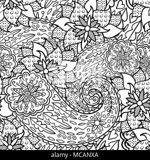 Hand Drawn Seamless Pattern With Leaves And Flowers Doodles Floral Ornament Black White