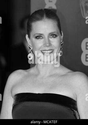 LONDON - FEB 12, 2017:  Amy Adams  ( Image digitally altered to monochrome )attends The EE British Academy Film Awards (BAFTA) at the Royal Albert Hall - Stock Photo