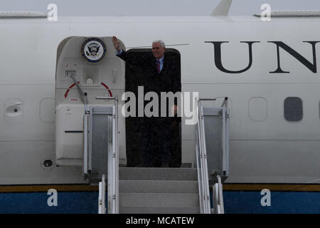 Vice President of the United States Michael R. Pence disembarks Air Force Two upon arrival at the Pennsylvania Air National Guard's 171st Air Refueling Wing in Coraopolis, Pa. Feb. 2, 2018. Greeting the vice president from the 171st was Col. Gilbert L. Patton, the Operations Group Commander. Pence took time to shake hands and greet members of the 171st before his speech at the Bethel Park Community Center and Heinz History Center in Pittsburgh. (U.S. Air National Guard Photo by Senior Master Sgt. Shawn Monk) - Stock Photo