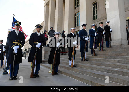 Members with the Joint Armed Forces Honor Guard participate in an Armed Forces Cordon ceremony hosted by U.S. Secretary of Defense James N. Mattis in honor of Ukraine's Defense Minister, Stepan Poltorak, during his visit at the Pentagon's river entrance in Arlington, Va., Feb. 2, 2018.  (U.S. Army photo by Staff Sgt. Brandy N. Mejia) - Stock Photo