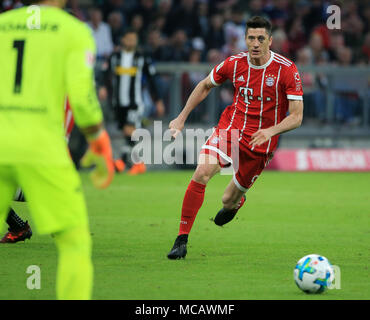 Munich, Germany. 14th Apr, 2018. Bayern Munich's Robert Lewandowski competes during a German Bundesliga match between Bayern Munich and Borussia Moenchengladbach, in Munich, Germany, on April 14, 2018. Bayern Munich won 5-1. Credit: Philippe Ruiz/Xinhua/Alamy Live News - Stock Photo