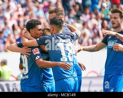 Hoffenheim-Hamburg Soccer, Hoffenheim, April 14, 2018 Serge GNABRY, Hoff 29   celebrates his goal 1-0 TSG 1899 Hoffenheim - Hamburger SV 2-0 1.Division German Football League, Hoffenheim, April 14, 2018,  Season 2017/2018 © Peter Schatz / Alamy Live News - Stock Photo