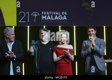 April 15, 2018 - 15 APRIL 2018 (MALAGA, SPAIN, ANDALUCIA ) The Mexican director Guillermo del Toro has been awarded at the 21st edition of the Malaga Festival. Cinema in Spanish with the Malaga-SUR Award, which was presented this Saturday at the Teatro Cervantes by the actress Marisa Paredes and the actor Ron Perlman Credit: Lorenzo Carnero/ZUMA Wire/Alamy Live News - Stock Photo