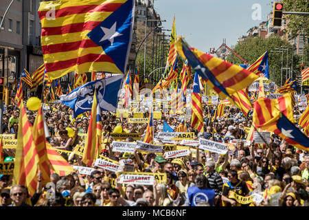 Barcelona, Spain 15th April 2018  Protesters seen waving the Catalan independence flags during the demonstration. A demonstration organized by social, cultural organizations, unions and political parties, under the motto 'We want you at home'. Credit: SOPA Images Limited/Alamy Live News - Stock Photo
