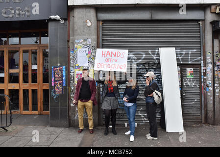 Camden Town, London, UK. 15th April 2018. Campaign launch for the People's Vote on the final Brexit deal is held in Camden Town, London Credit: Matthew Chattle/Alamy Live News - Stock Photo