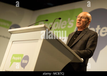 London, UK. 15th April, 2018. Sir Patrick Stewart launching the new People's Vote campaign calling for a public vote on the final Brexit deal before Britain leaves the EU, Camden, north London Credit: Radek Bayek/Alamy Live News - Stock Photo