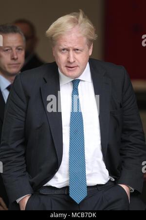 London, UK, 15th April 2018. Boris Johnson Secretary of State for Foreign Affairs seen leaving the BBC studios Credit: WFPA/Alamy Live News - Stock Photo