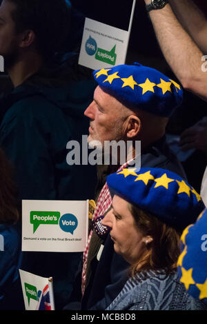London, UK. 15th April 2018. Remain supporters inside the Electric Ballroom in Camden at the launch event for the People's Vote campaign which is calling for a public vote on the final Brexit deal. Credit: Vickie Flores/Alamy Live News - Stock Photo