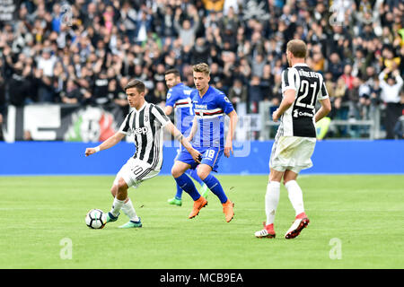 Turin, Italy. 15th Apr, 2018. Paulo Dybala (Juventus FC),Benedikt Hšwedes (Juventus FC),Dennis Praet (UC Sampdoria),during the Serie A football match between Juventus FC vs UC Sampdoria at Allianz Stadium  on 15 April 2018 in Turin, Italy. Credit: Antonio Polia/Alamy Live News - Stock Photo