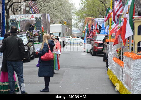 New York, New York City, USA. 15th Apr, 2018. Paraders march along the Madison Avenue during the Persian Day Parade in Manhattan, the New York City, April 15, 2018. Credit: Ryan Rahman/Alamy Live News - Stock Photo