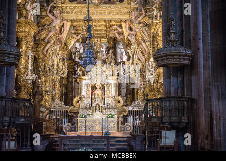 Altar of the cathedral of Santiago de Compostela - Stock Photo