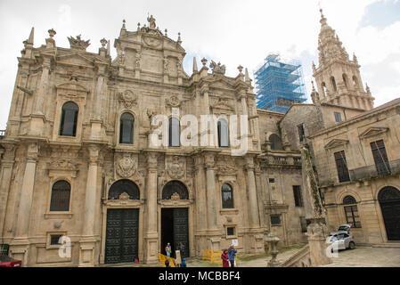 Cathedral of Santiago de Compostela as seen from Praza do Obradoiro during reconstruction - Stock Photo