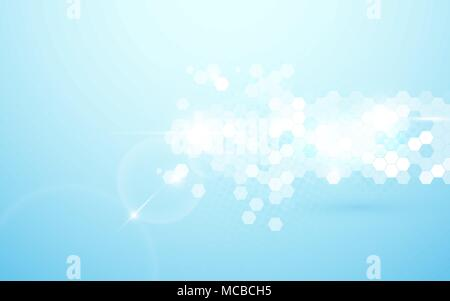 Abstract hexagons in arrow shape, futuristic technology. Soft blue and shiny background - Stock Photo