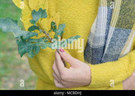 Girl in yellow sweater holding twig - Stock Photo