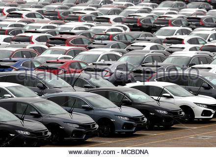 Embargoed to 0001 Monday April 16 File photo dated 12/01/18 of new cars lined up. A new research by UHY Hacker Young shows the cost of leasing a new car has jumped by 9% in the last year. - Stock Photo
