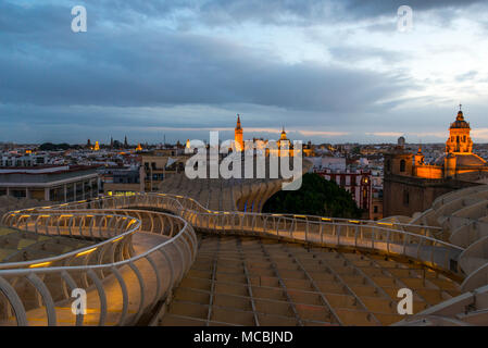 View from the Metropol Parasol to La Giralda and Iglesia del Salvador, Bell Tower of the Cathedral of Seville, Catedral de Santa Stock Photo