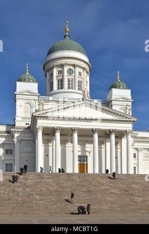 Finnish Evangelical Lutheran cathedral of Diocese of Helsinki, located in neighborhood of Kruununhaka in Spring - Stock Photo