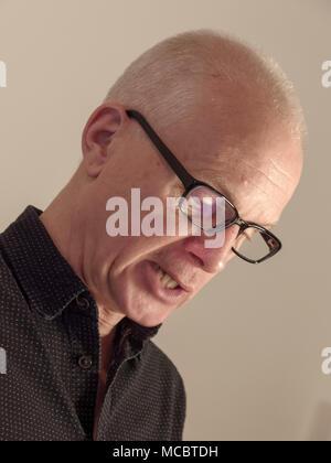 Herr Schultz - the actor Thomas Schultz at a humoristic reading in Hamburg, Germany - Stock Photo