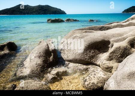 Abel Tasman National Park and Tasman Bay, South Island, New Zealand. - Stock Photo