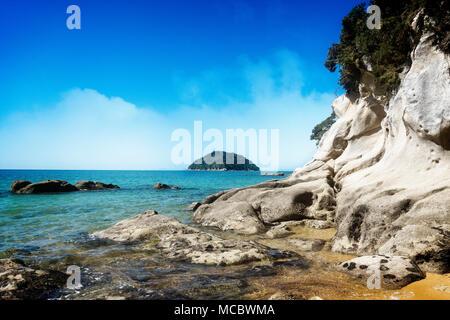 Abel Tasman National Park and Tasman Bay, South Island, New Zealand - Stock Photo