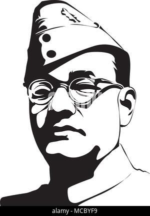 Subash Chandra Bose (1897 - 1945) Indian nationalist  hero in India - Stock Photo