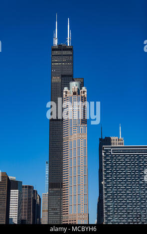 CHICAGO, IL, USA - November 8, 2017: Wide angle shot of various Chicago Skyscrapers including the Willis Tower (Sears Tower) - Stock Photo