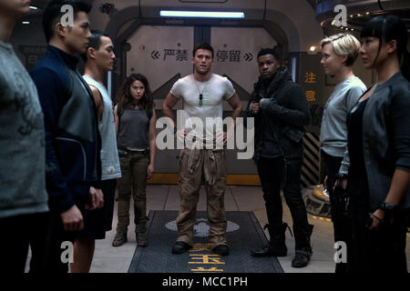 Pacific Rim Uprising is an upcoming American science fiction monster film directed by Steven S. DeKnight and written by DeKnight, Emily Carmichael, Kira Snyder, and T.S. Nowlin from a story by DeKnight and Nowlin. It is the sequel to the 2013 film Pacific Rim, and stars John Boyega, Scott Eastwood.  This photograph is for editorial use only and is the copyright of the film company and/or the photographer assigned by the film or production company and can only be reproduced by publications in conjunction with the promotion of the above Film. A Mandatory Credit to the film company is required. T - Stock Photo