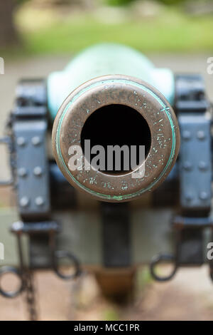 Gettysburg, PA, USA - July 8, 2013:  A close-up of a civil war cannon on the Gettysburg battlefield. - Stock Photo