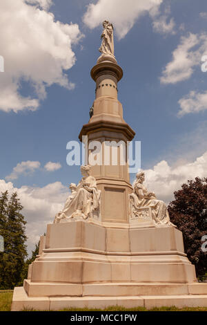 Gettysburg, PA, USA - July 8, 2013:  The State of New York Monument is located in the Soldiers' National Cemetery in Gettysburg. - Stock Photo
