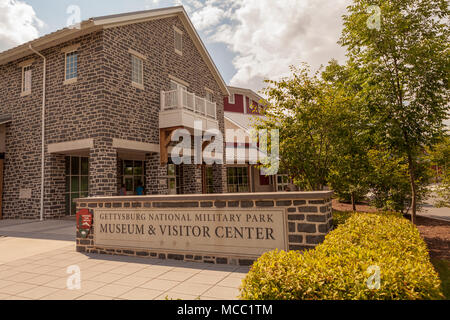 Gettysburg, PA, USA - July 8, 2013:  The entrance of the Gettysburg National Military Park Museum and Visitors Center at the battlefield. - Stock Photo