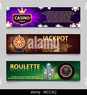 Gambling banners with Roulette Wheel and Casino Chips, lottery machine, gold fortune wheel set. Casino jackpot banner with casino games, fortune and lottery. Vector illustration - Stock Photo