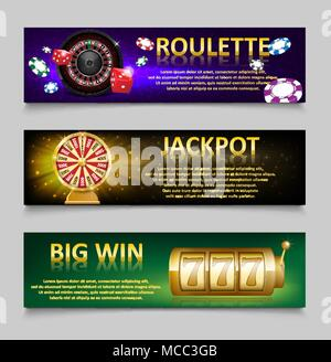 Gambling banners with Roulette Wheel and Casino Chips, lottery machine, gold fortune wheel set. Casino jackpot banner with Playing casino games. money, fortune and lottery. vector illustration - Stock Photo